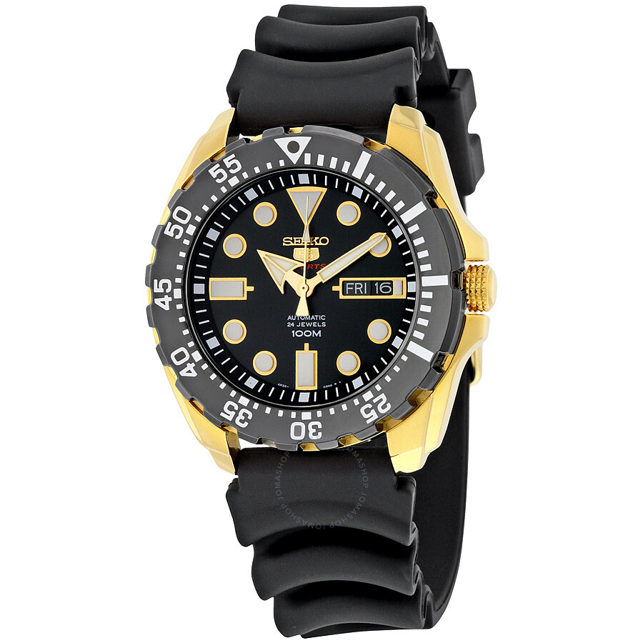 Seiko 5 Sports Automatic Black Dial Black Rubber Men S Sports Watch Srp608