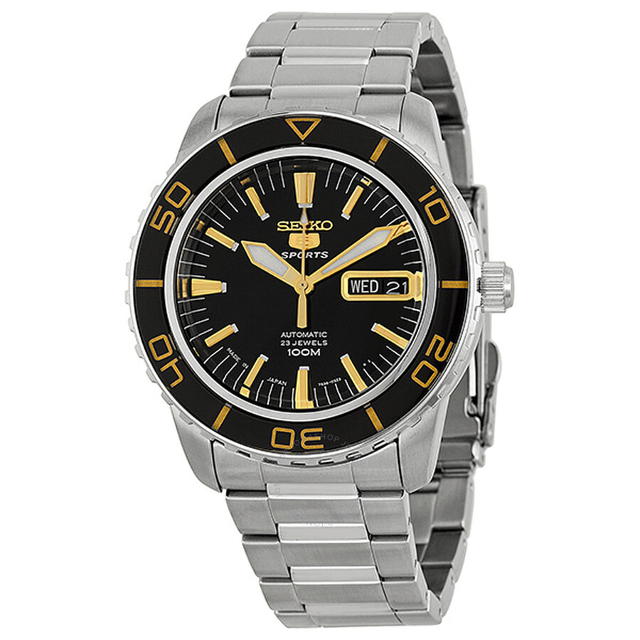 Seiko 5 Sports Automatic Black Dial Stainless Steel Men s Watch SNZH57J1 ... 4863dd318de8