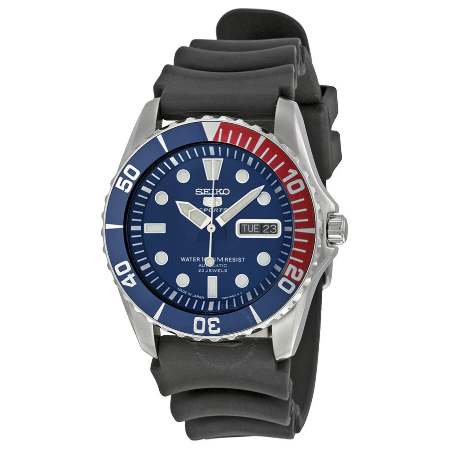 e90139cb9f13f Seiko 5 Sports Automatic Blue Dial Pepsi Bezel Men s Watch SNZF15J2 ...