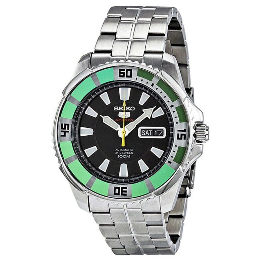 Seiko 5 Sports Automatic Divers Green Ion Plated Bezel Men S Watch Srp205k1