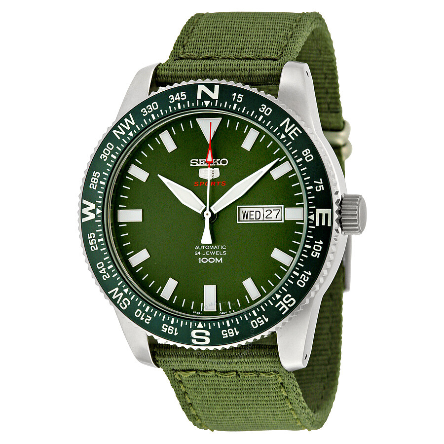 Seiko 5 Sports Automatic Green Dial Green Canvas Men S Watch Srp663