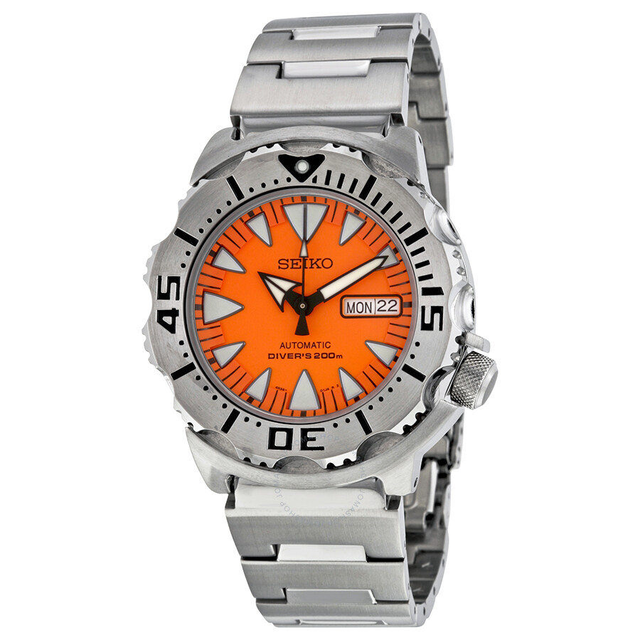 Seiko 5 sports diver automatic orange dial stainless steel - Orange dive watch ...