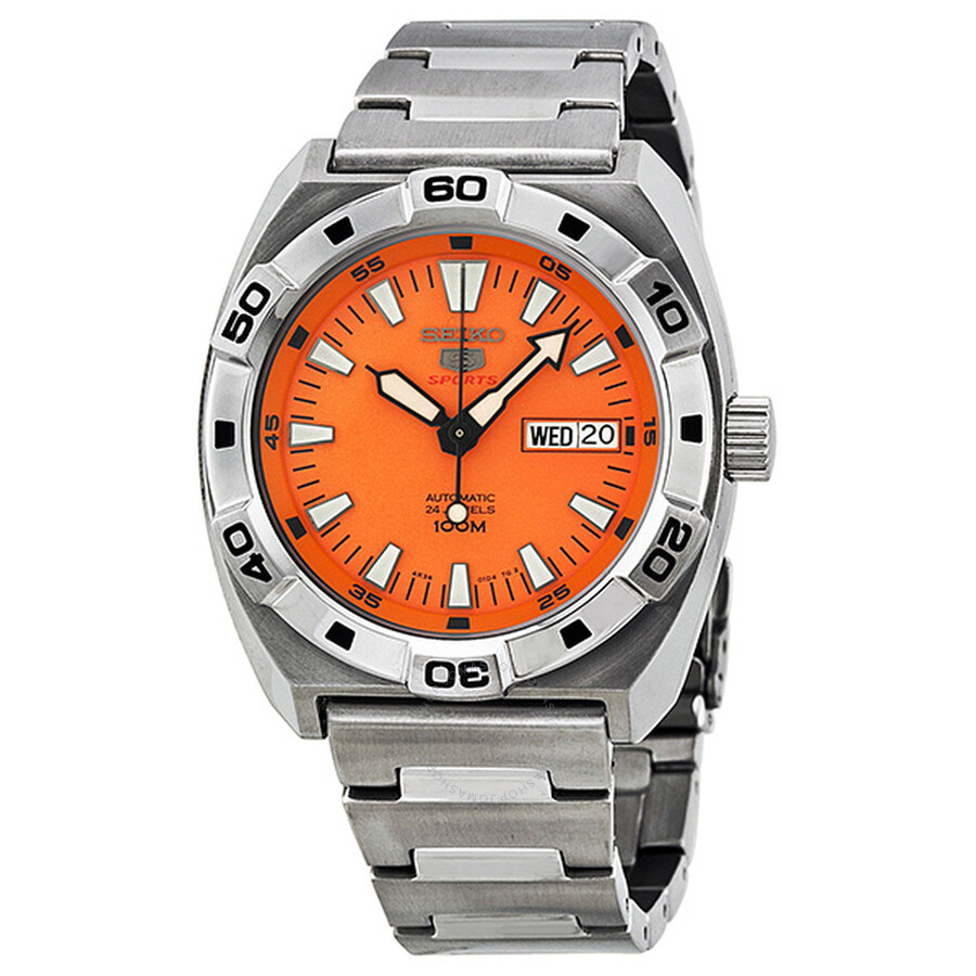 Seiko 5 Sports Orange Dial Stainless Steel Automatic Men s Watch SRP283 ... 0a3cc8e3e0