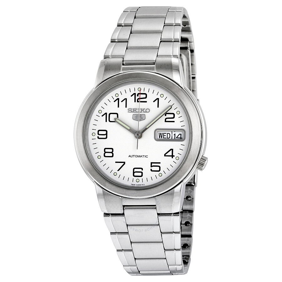 08865d026 Seiko 5 White Dial Automatic Stainless Steel Men's Watch SNXE95 ...