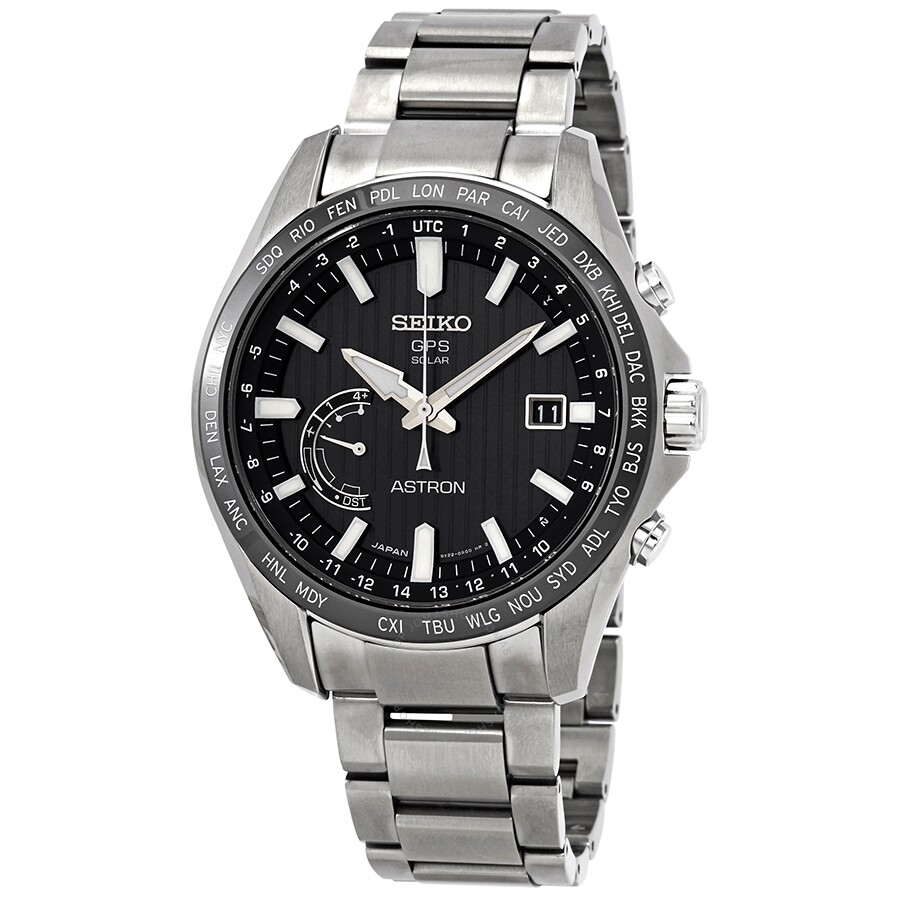 Seiko Astron Perpetual World Time Gps Solar Black Dial Men S Watch
