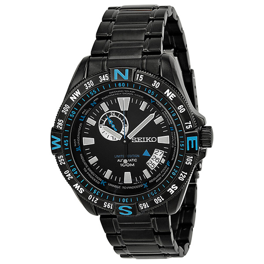 Seiko Automatic Black And Blue Dial Black Pvd Stainless Steel Men S Watch Ssa115