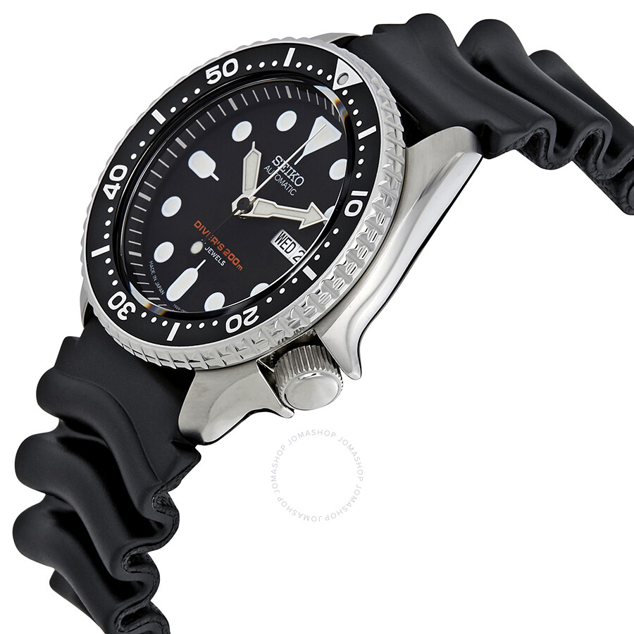 Seiko automatic black dial black rubber men 39 s watch skx007j1 seiko watches jomashop for Rubber watches