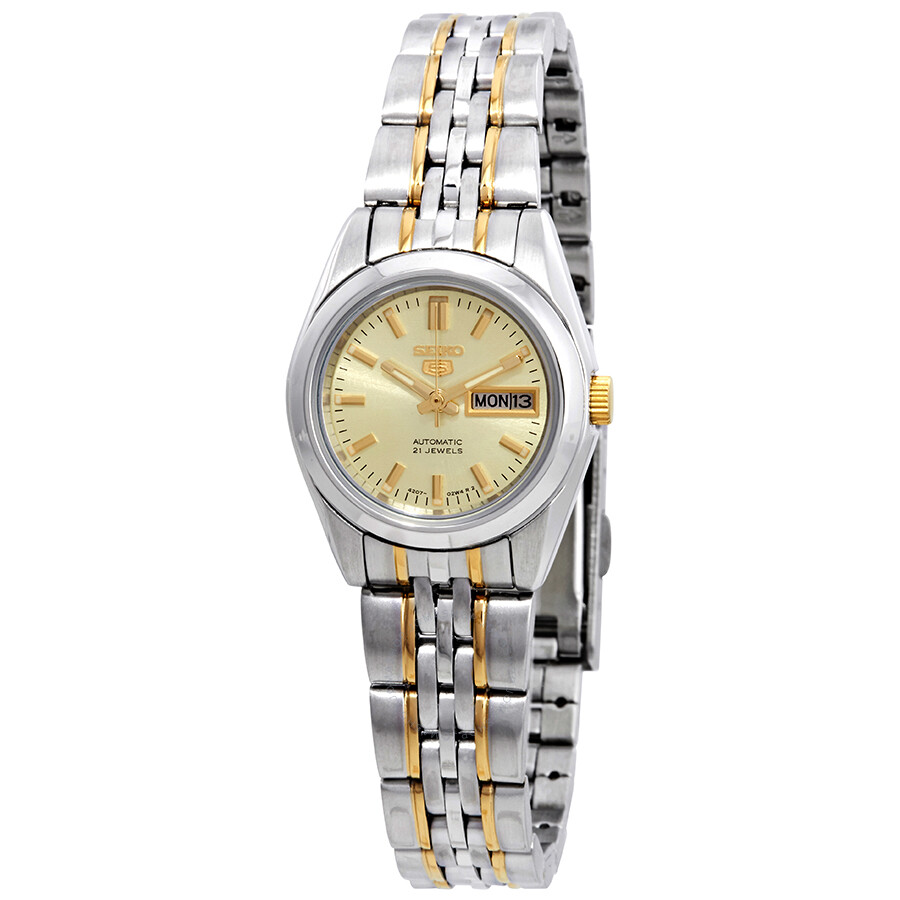 6bef38ec4 Seiko Automatic Gold Dial Two-tone Ladies Watch SYMA37 - Seiko 5 ...