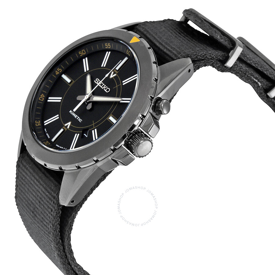 Seiko automatic kinetic recraft black dial black nylon men 39 s watch ska705 recraft seiko for Movado kinetic