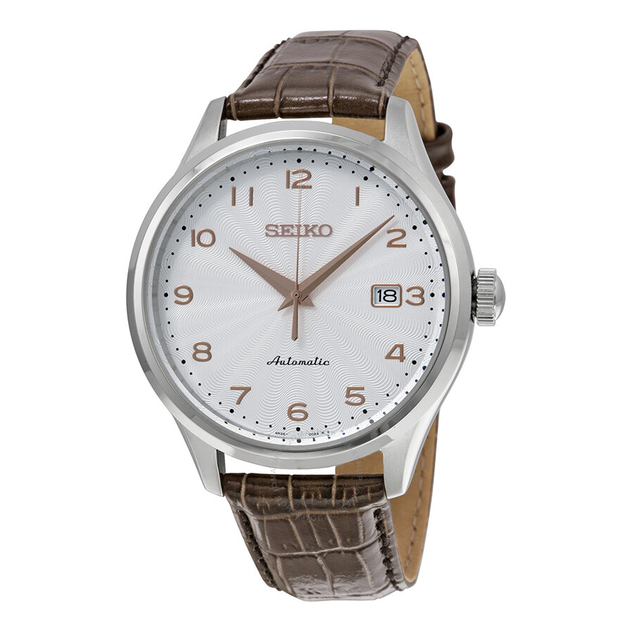 Seiko Automatic Silver Dial Brown Leather Men S Watch Srp705