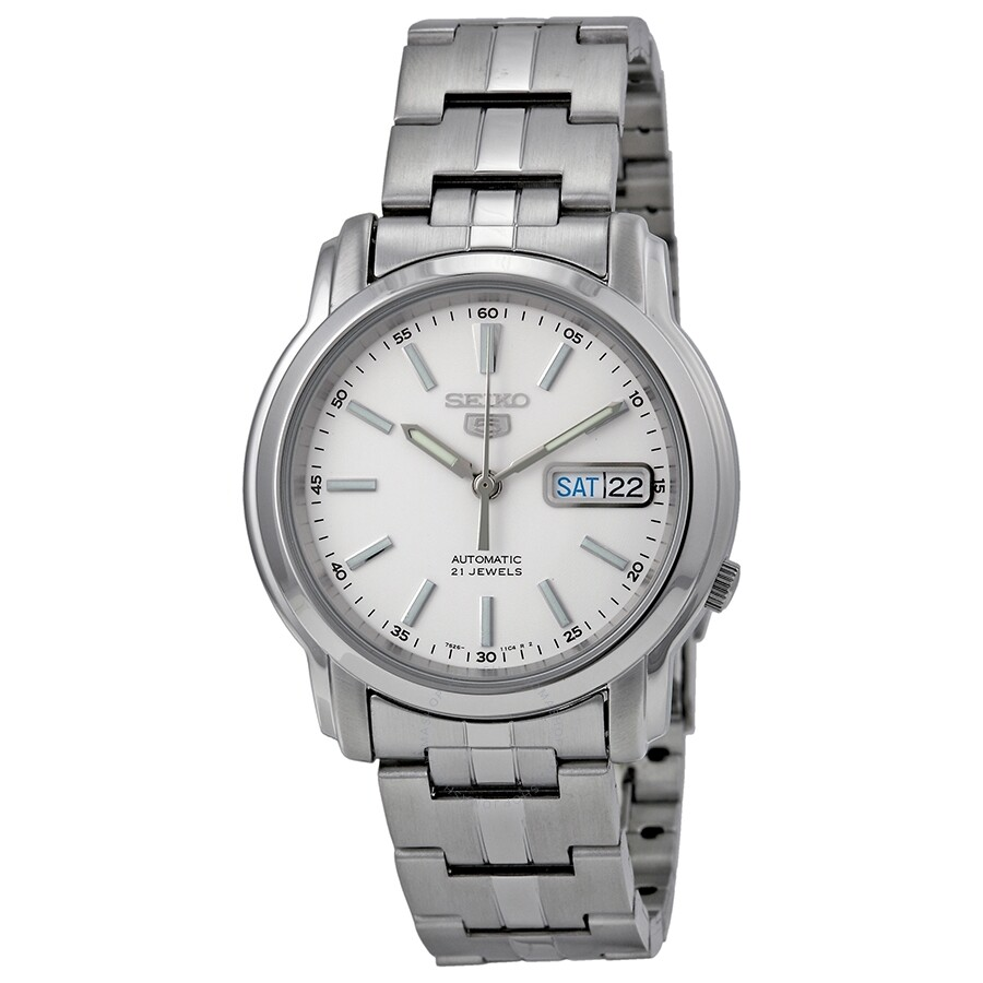 Seiko Automatic White Dial Stainless Steel Men S Watch Snkl75