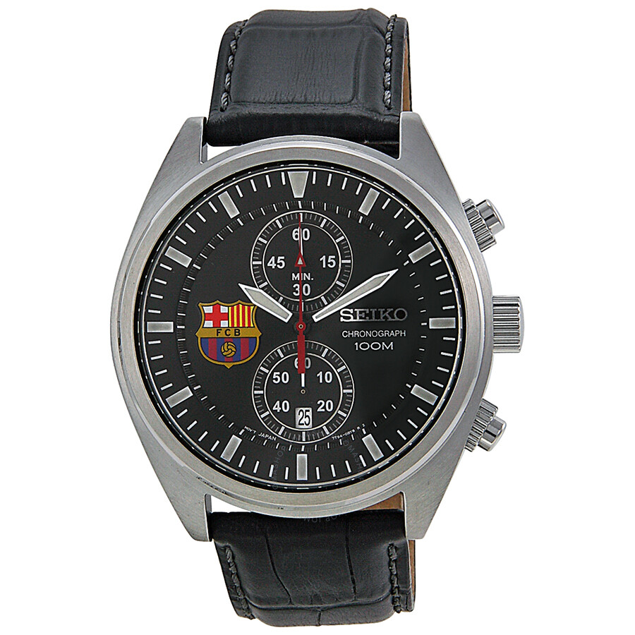 Seiko Barcelona Football Club Chronograph Black Dial Black ...