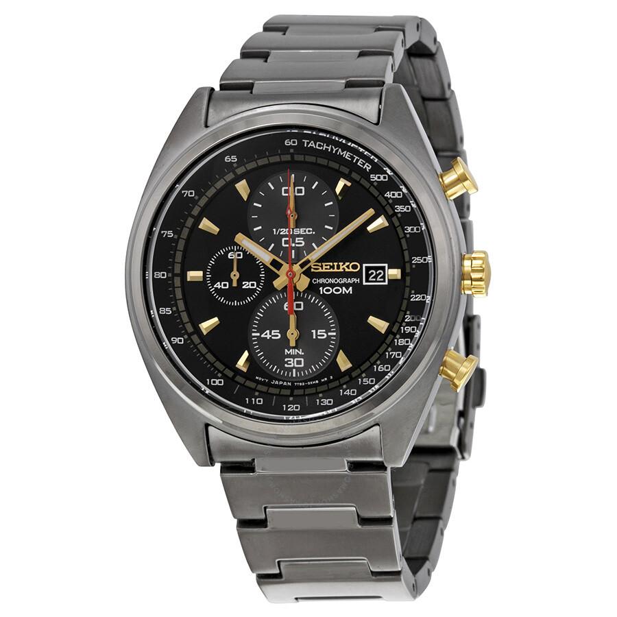 seiko black chronograph gunmetal pvd stainless steel