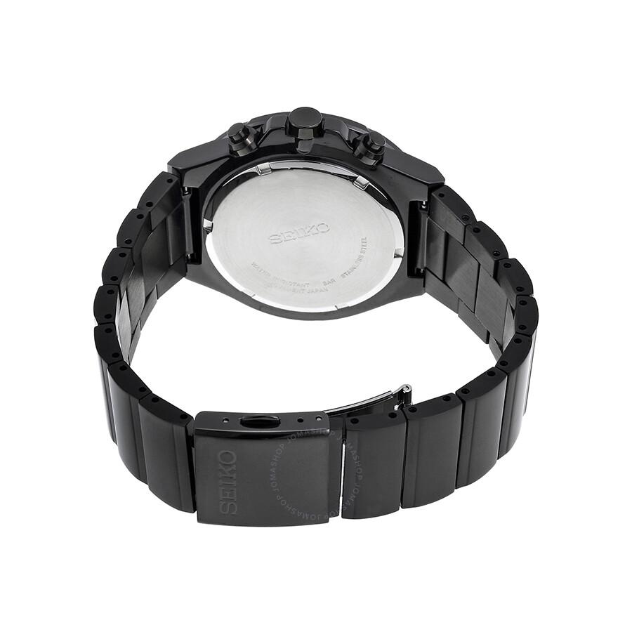 Black Stainless Steel: Seiko Black Dial Chronograph Black PVD Stainless Steel Men