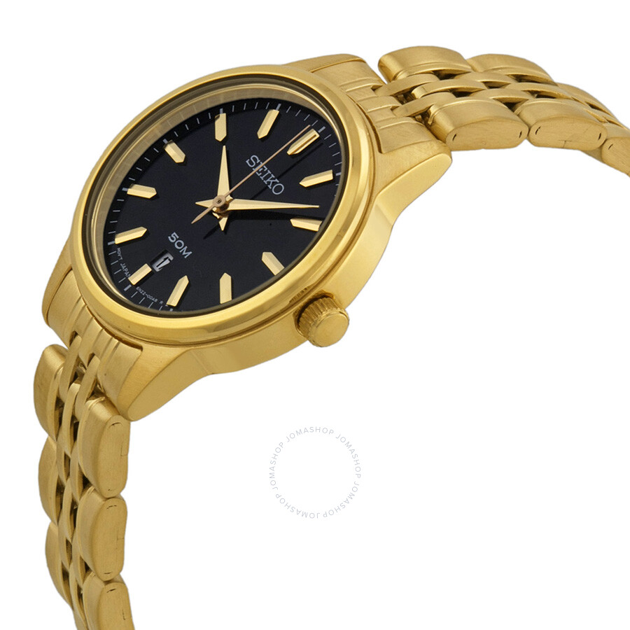 seiko black dial gold tone ladies watch sur886 stainless steel seiko watches jomashop