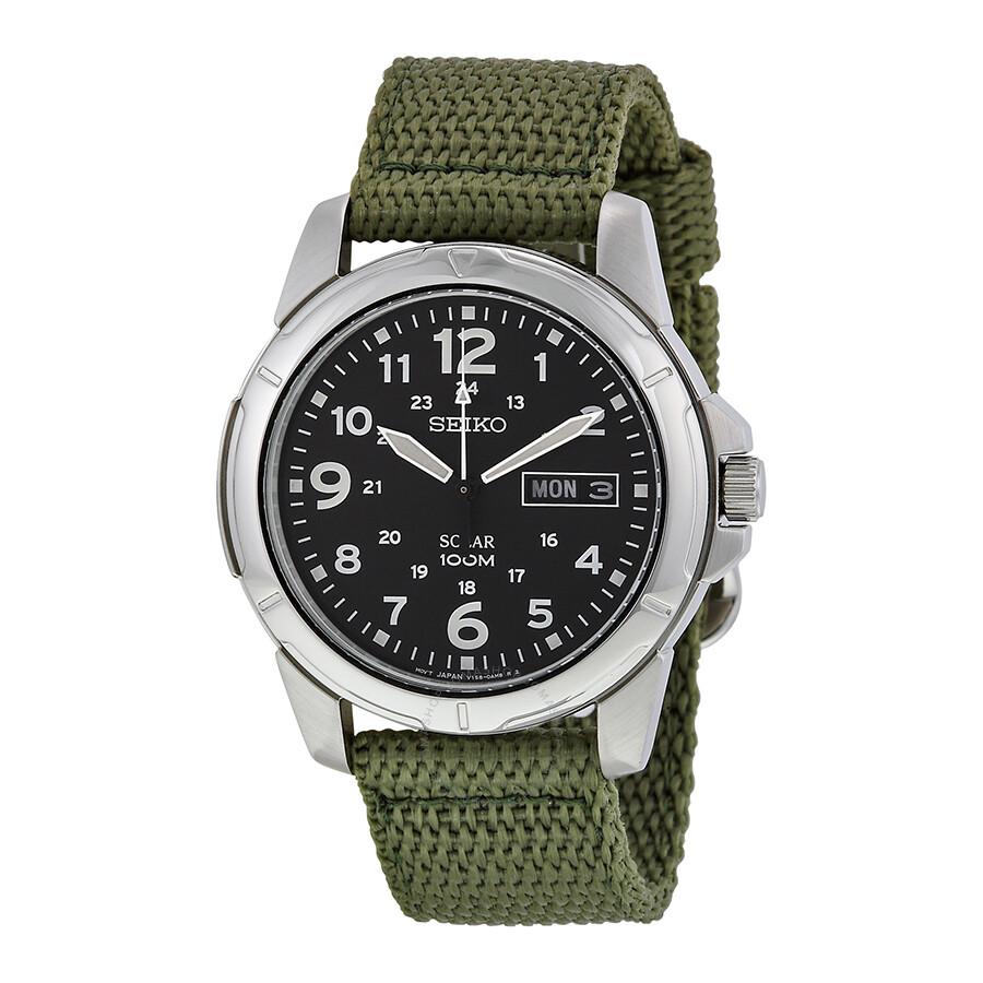 Seiko black dial green nylon solar quartz men 39 s watch sne095p2 solar seiko watches jomashop for Seiko solar