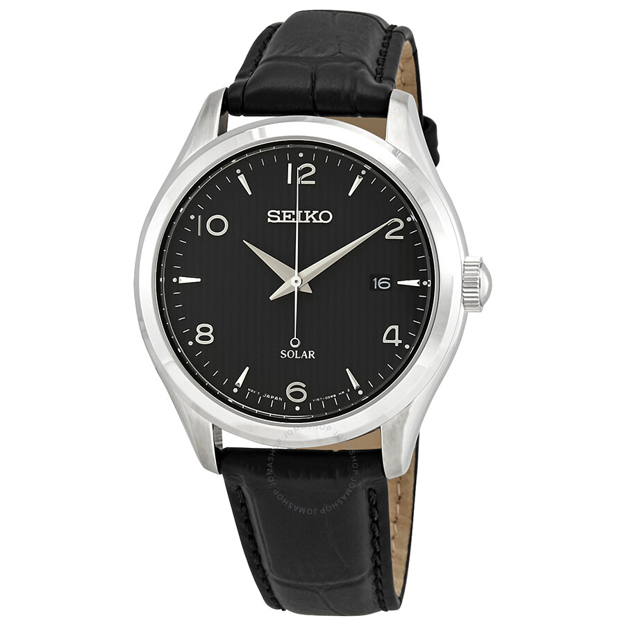 Seiko Black Dial Men S Leather Watch Sne495