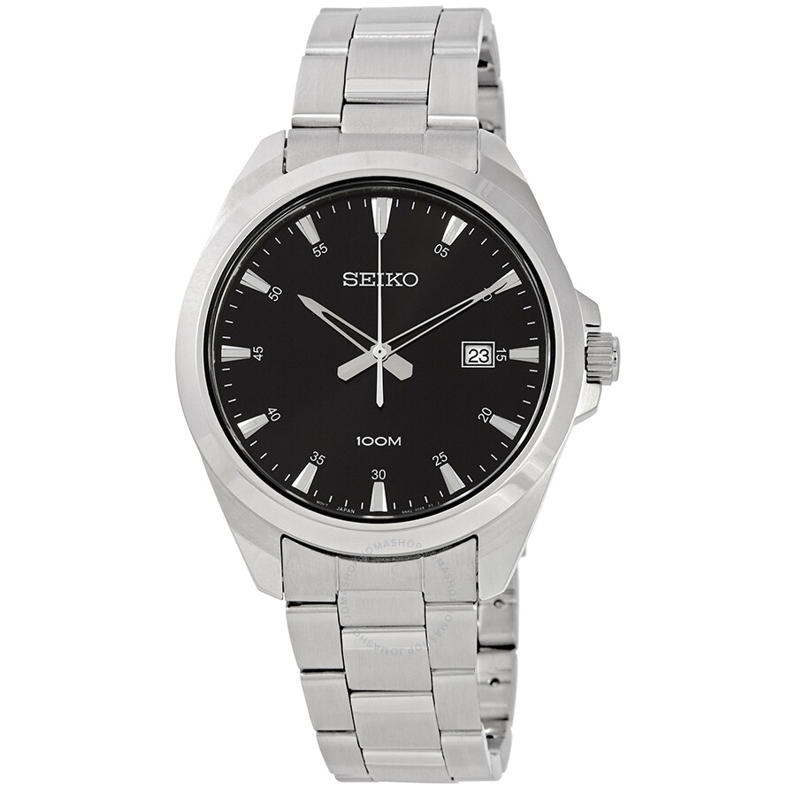 Seiko Black Dial Stainless Steel Men S Watch Sur209
