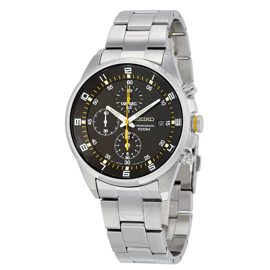 seiko black stainless steel chronograph s