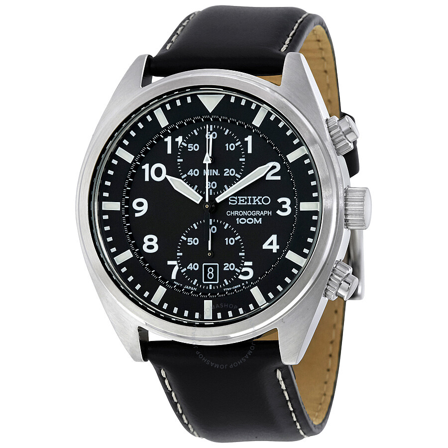 seiko chronograph black dial men 39 s watch snn231p2. Black Bedroom Furniture Sets. Home Design Ideas