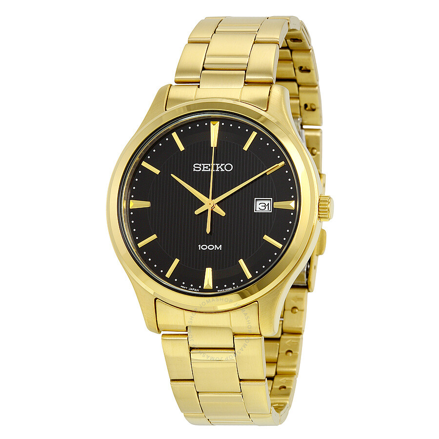 seiko black dial yellow gold plated men 39 s watch sur088. Black Bedroom Furniture Sets. Home Design Ideas