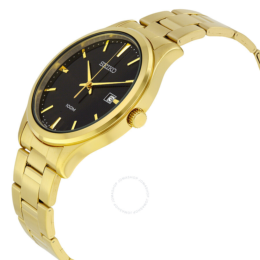 seiko black yellow gold plated s sur088