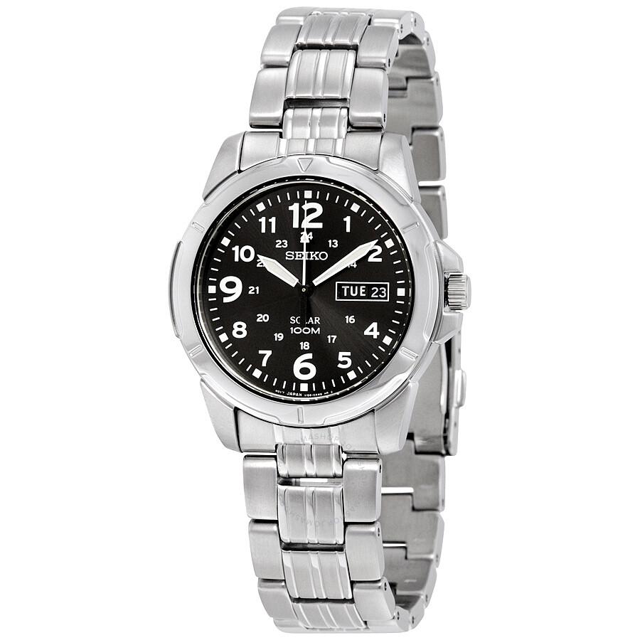 Seiko black solar power dial men 39 s watch sne095 solar seiko watches jomashop for Seiko solar