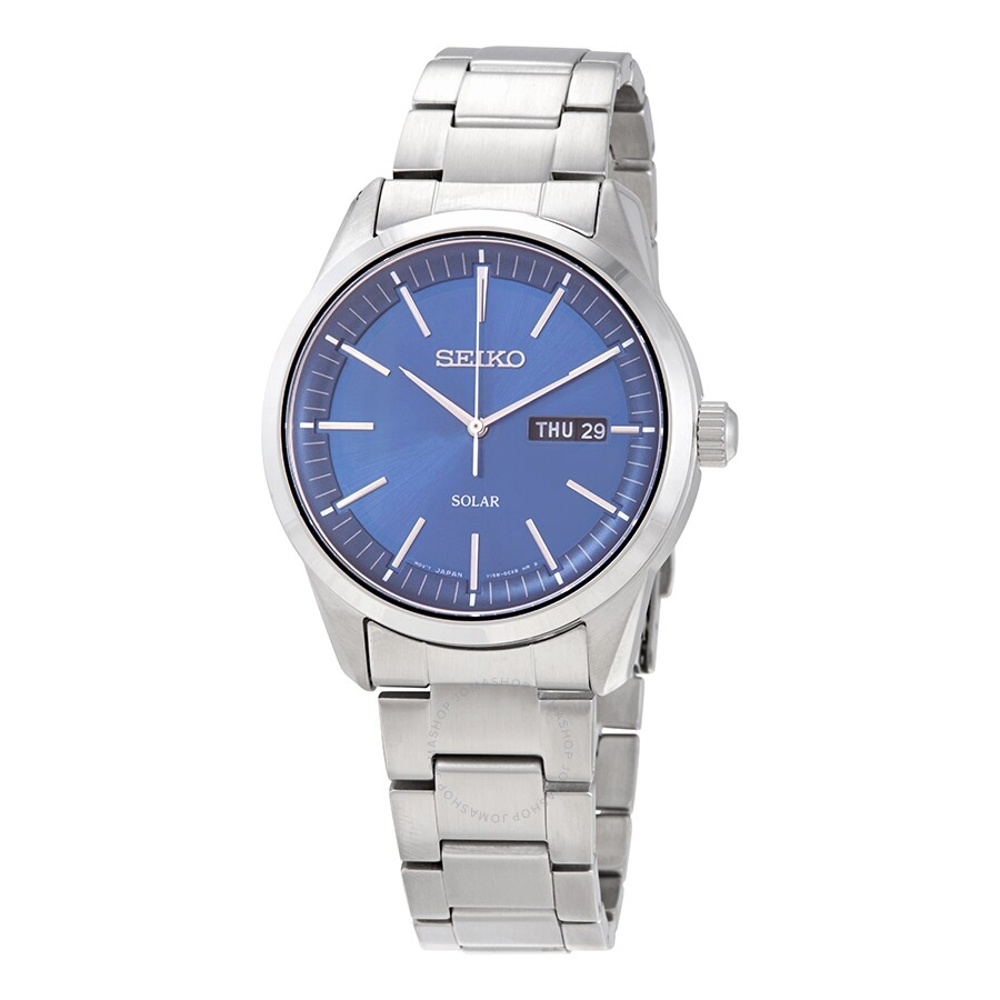 Seiko Solar Blue Dial Stainless Steel Men S Watch Sne525p1 Solar