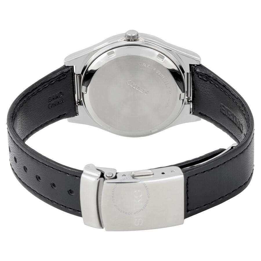 Seiko braille dial black leather strap men 39 s watch s23159 seiko watches jomashop for Black leather strap men