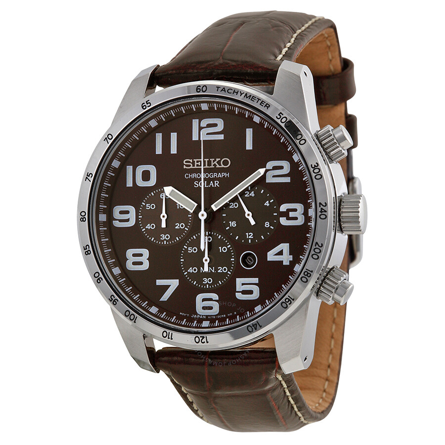 seiko brown dial solar chronograph brown leather men 39 s. Black Bedroom Furniture Sets. Home Design Ideas