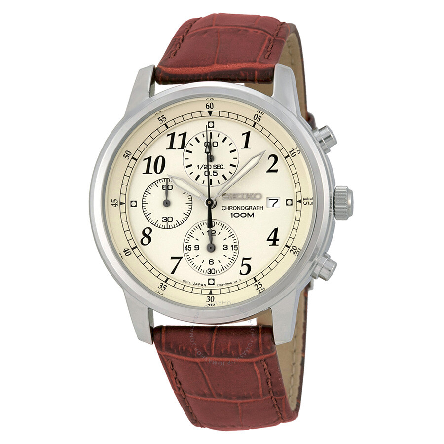 80d59369f2b Seiko Chronograph Beige Dial Burgandy Leather Men s Watch