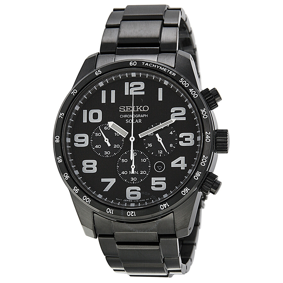 Seiko chronograph black dial black ion plated stainless steel men 39 s watch ssc231 stainless for Stainless watches