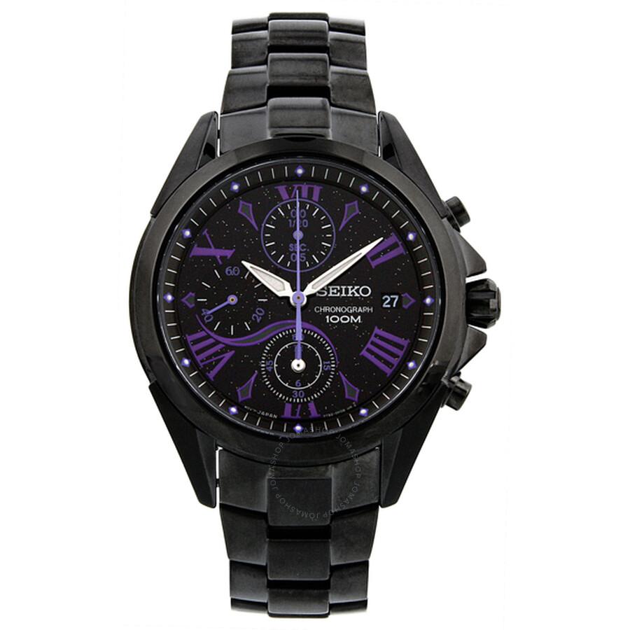 Seiko Chronograph Black Dial Black Ion Plated Ladies Watch Sndz09