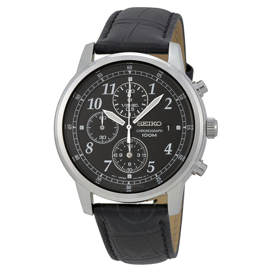 seiko chronograph black dial black leather men 39 s watch. Black Bedroom Furniture Sets. Home Design Ideas