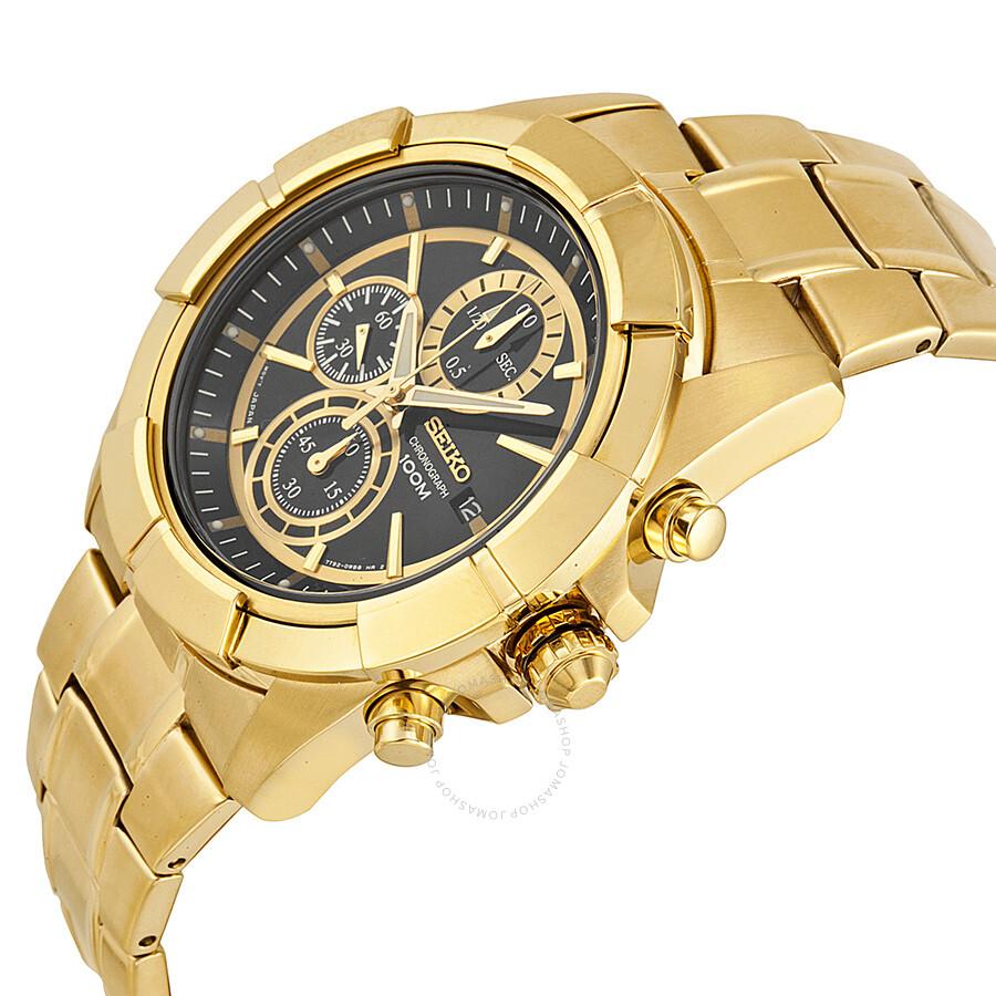 seiko chronograph black gold tone s snde74