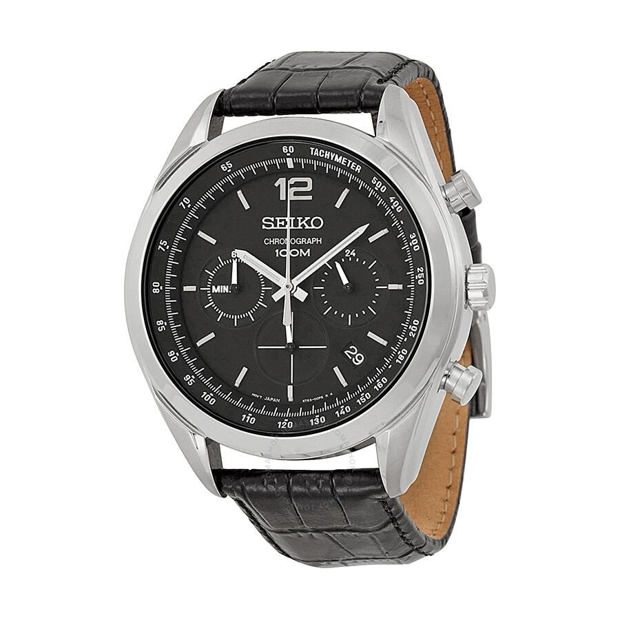 a9bebe045 Seiko Chronograph Black Dial Men's Watch SSB097 - Stainless Steel ...