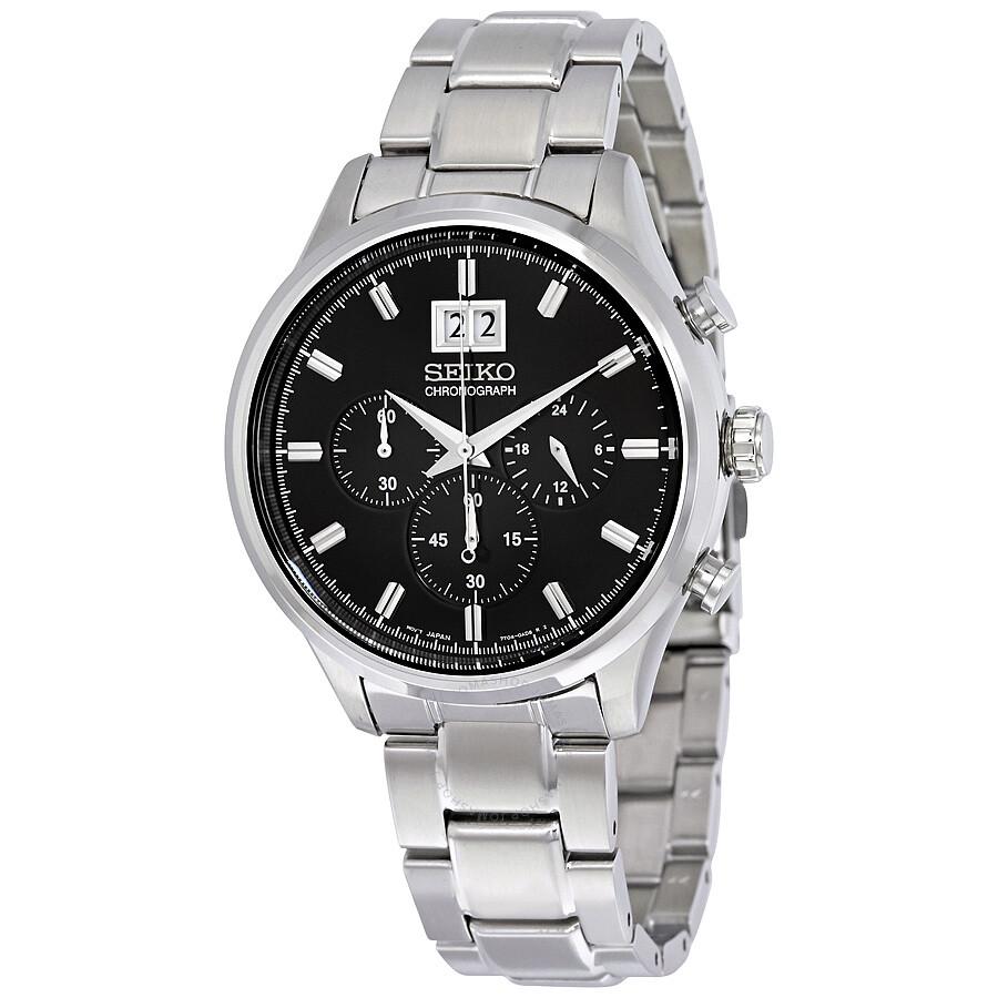 seiko chronograph black dial stainless steel men s watch spc083