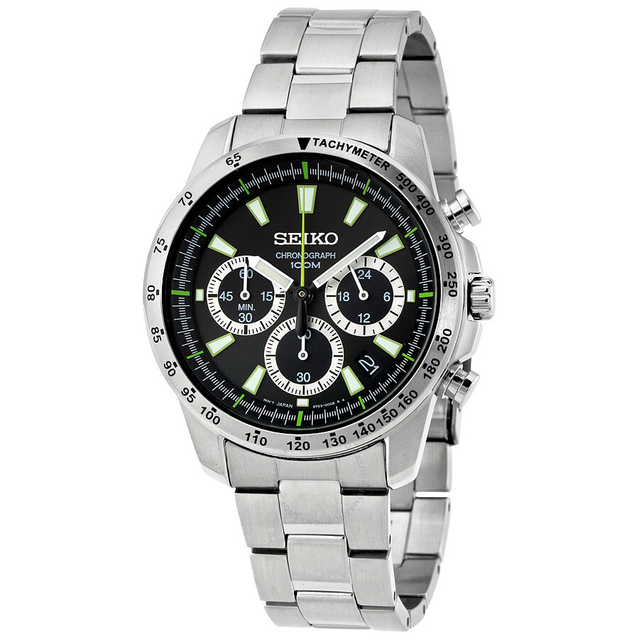 seiko chronograph black stainless steel s