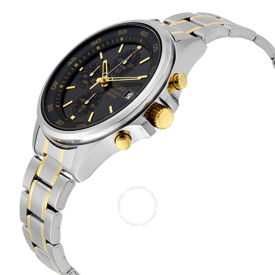 seiko chronograph black two tone s sks481
