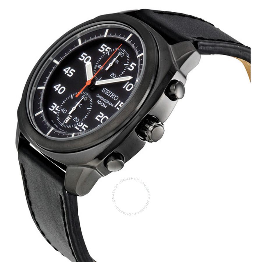 Seiko Chronograph Black Ion Plated Men S Watch Snn217p1