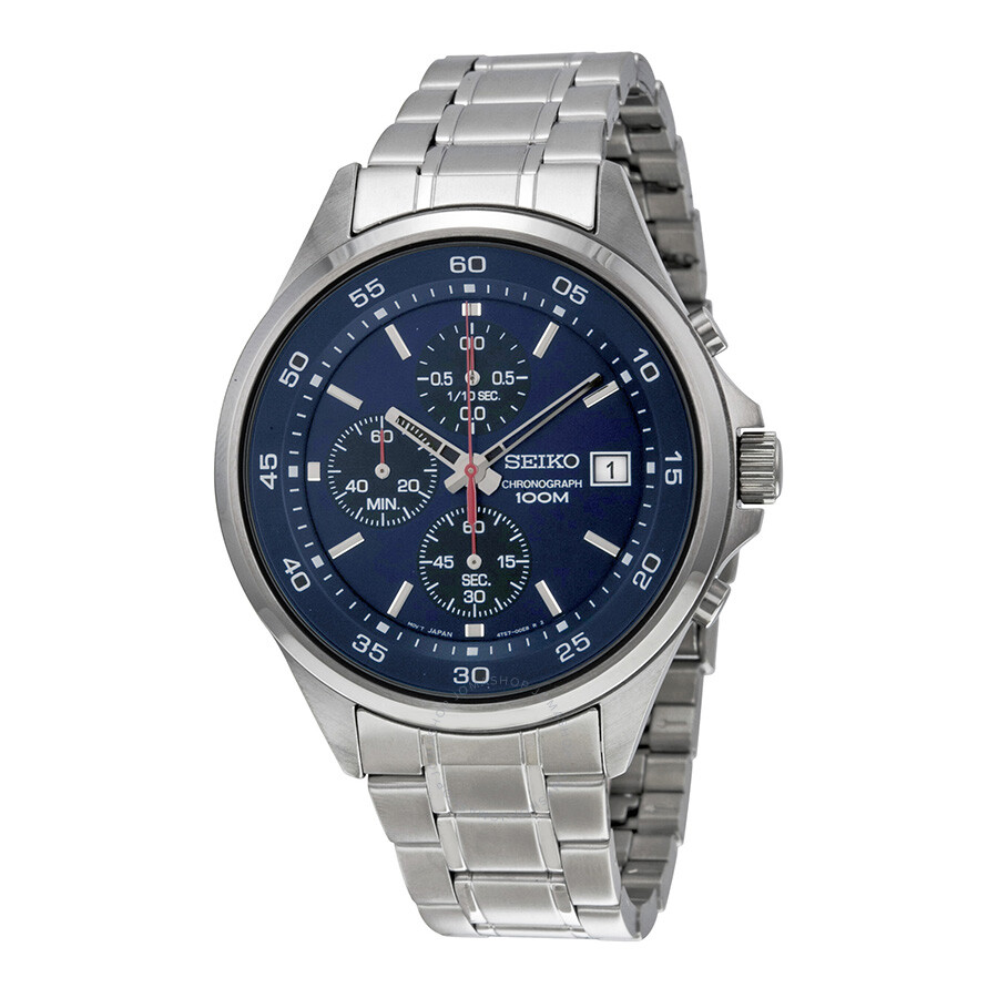 6f17d436dd12 Seiko Chronograph Blue Black Dial Stainless Steel Men s Watch SKS475 ...
