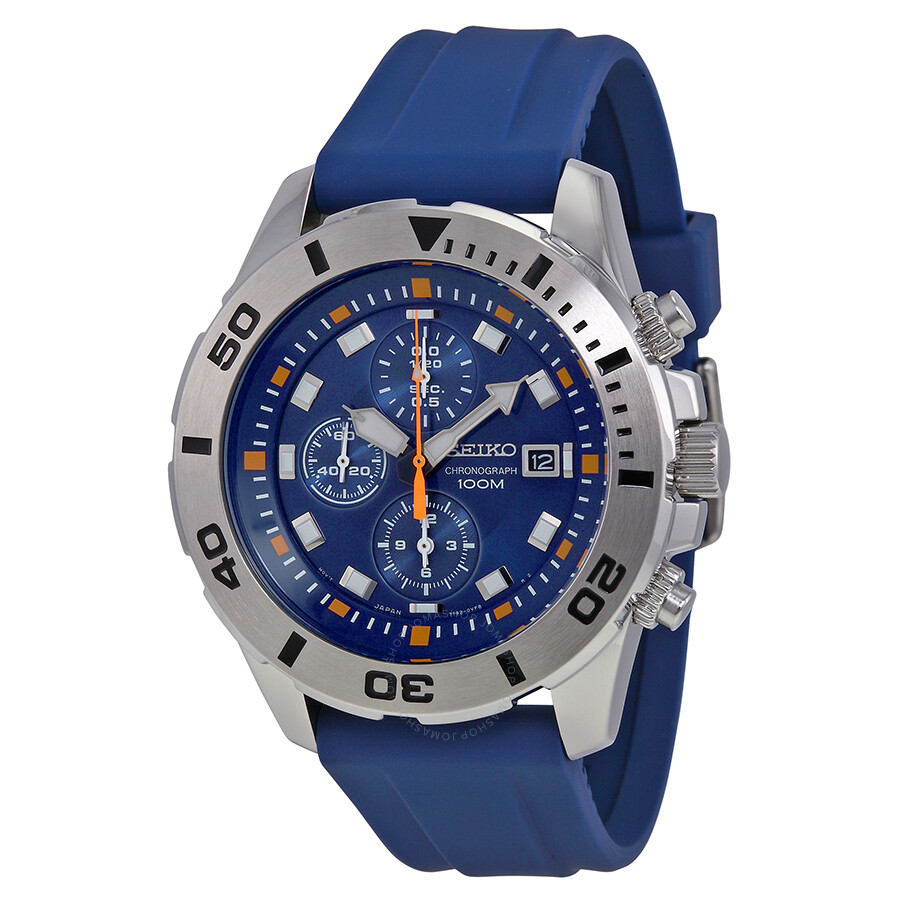seiko blue chronograph blue rubber s snde03