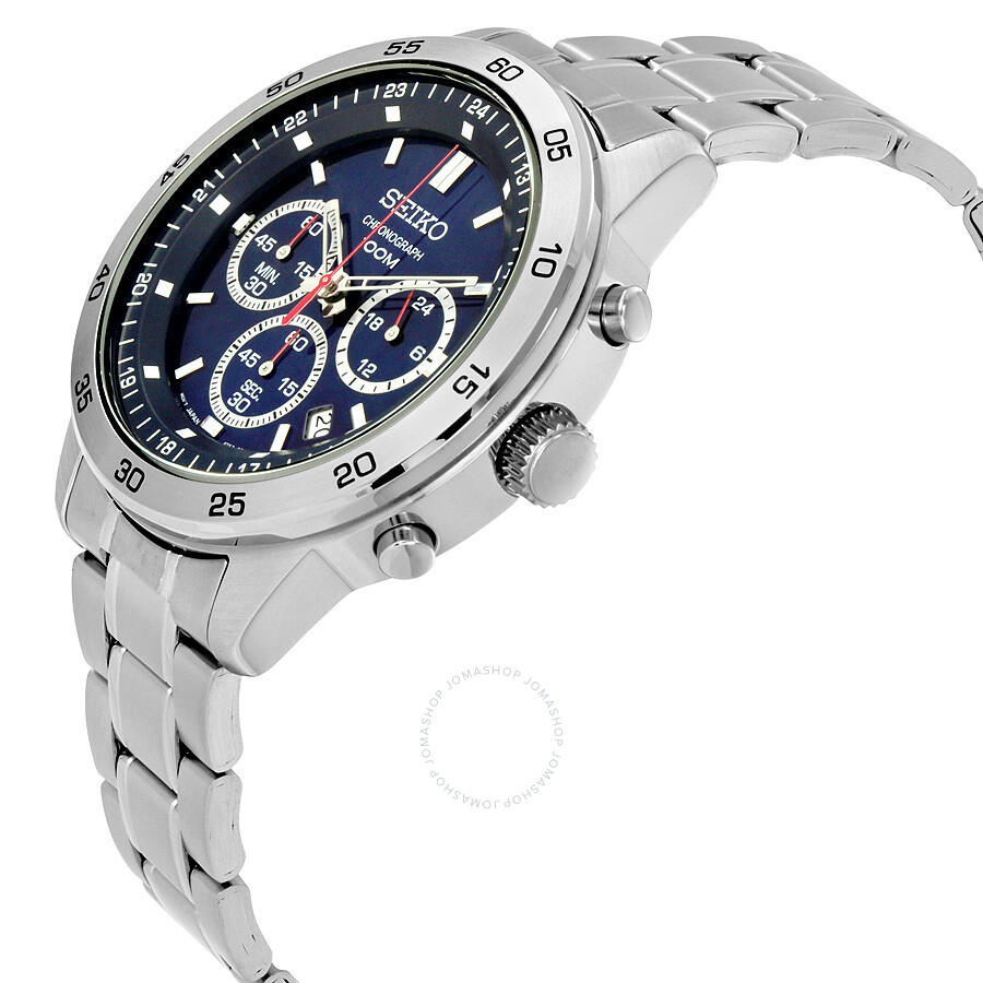 Blue Dial Chronograph Watches Online Deals Seiko Solar Stainless Steel Mens Watch Ssc221 Silver Alpina Startimer Pilot Emporio Armani Ar2448 Classic
