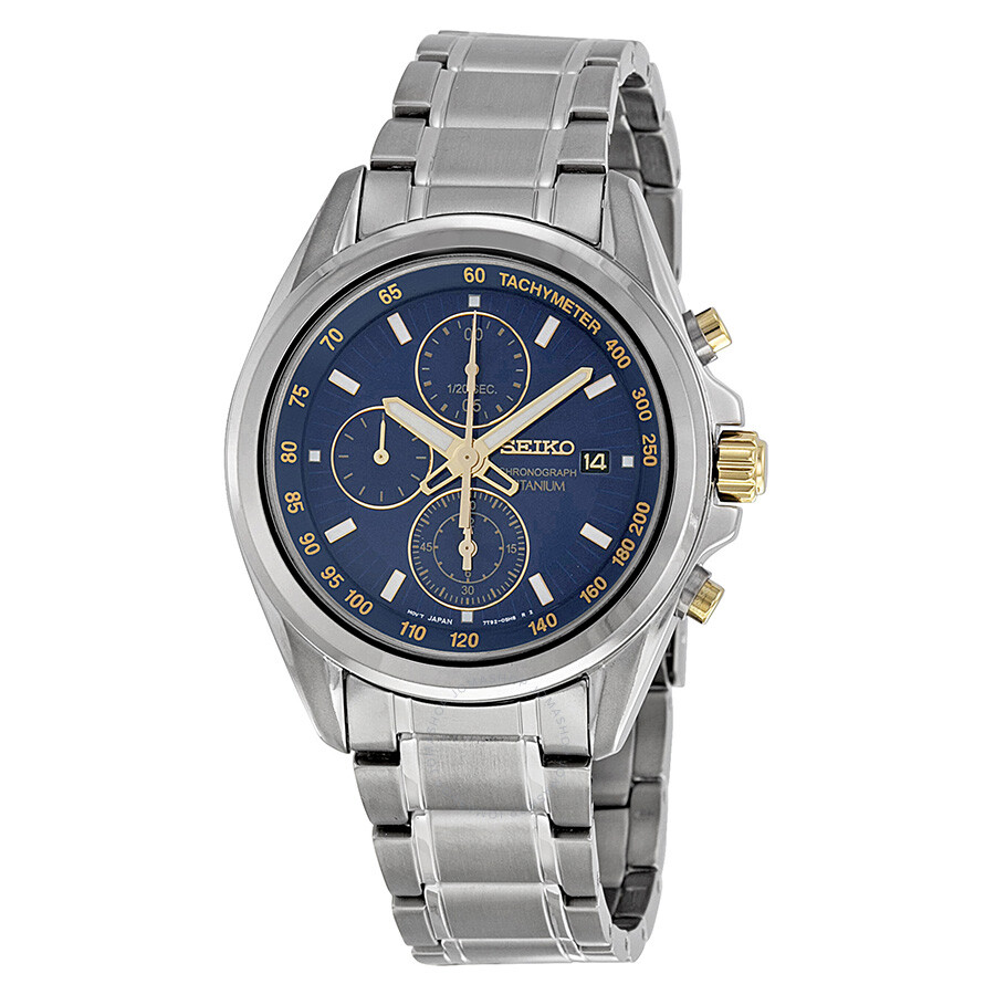 Seiko chronograph blue sial titanium men 39 s watch snde59 titanium seiko watches jomashop for Titanium watches