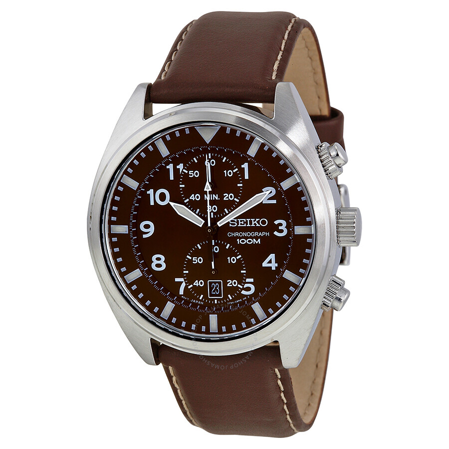 Seiko chronograph brown dial men 39 s watch snn241 chronograph seiko watches jomashop for Watches for men