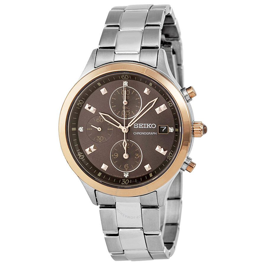 Seiko chronograph brown dial stainless steel ladies watch sndx06 stainless steel seiko for Stainless watches