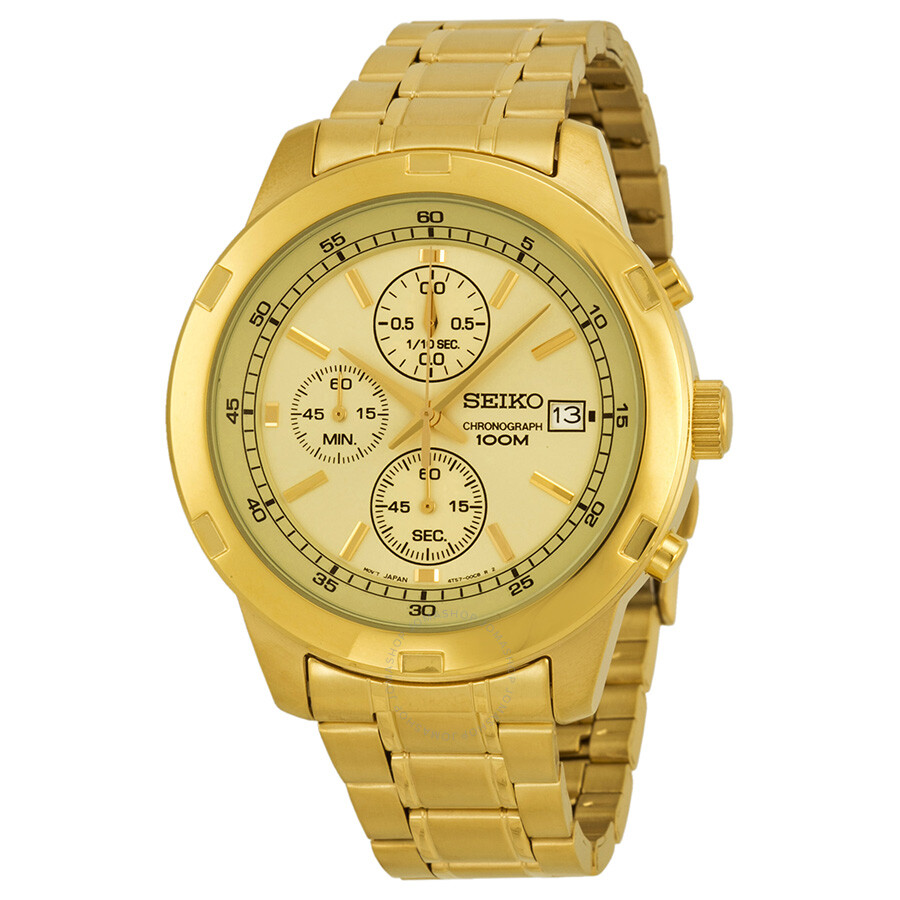 Seiko chronograph gold dial gold tone men 39 s watch sks426 for What watch to buy