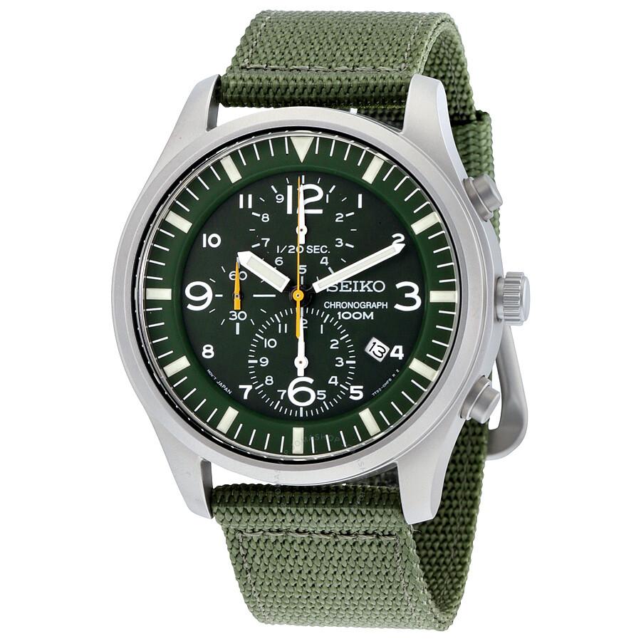 seiko watches jomashop seiko chronograph green dial green nylon strap men s watch