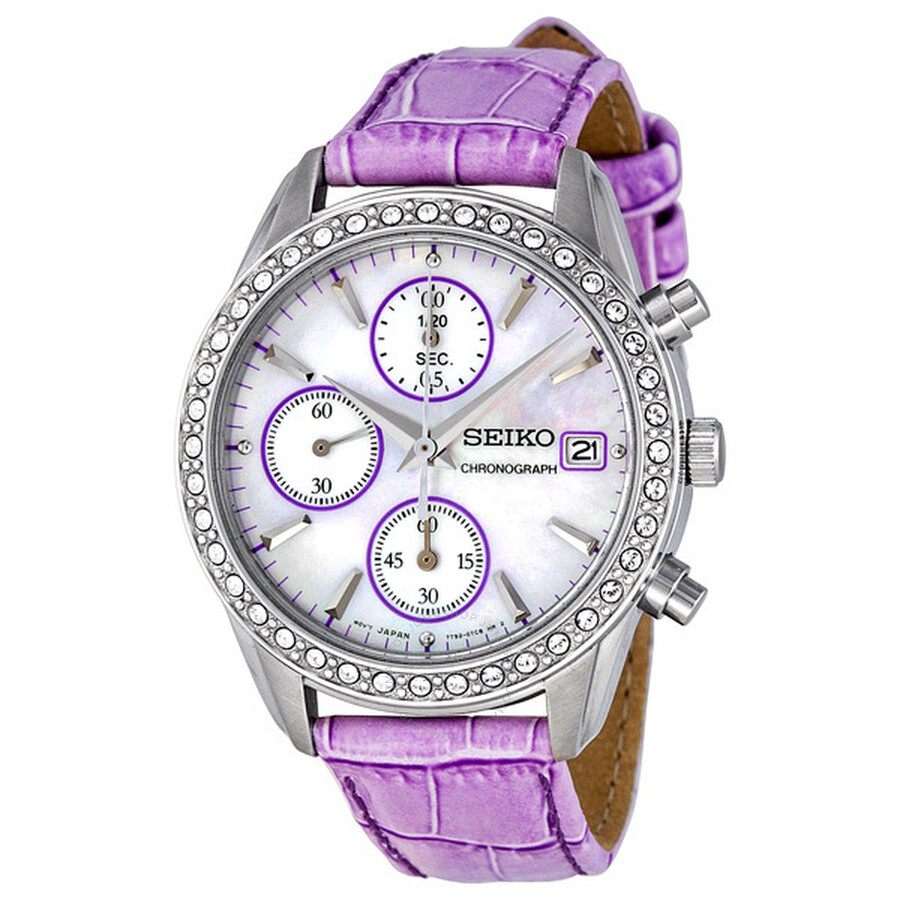 Seiko chronograph mother of pearl dial purple leather strap ladies watch sndy17 chronograph for Violet leather strap watch
