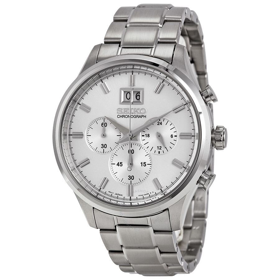 Seiko chronograph silver dial stainless steel men 39 s watch spc079 stainless steel seiko for Stainless steel watch